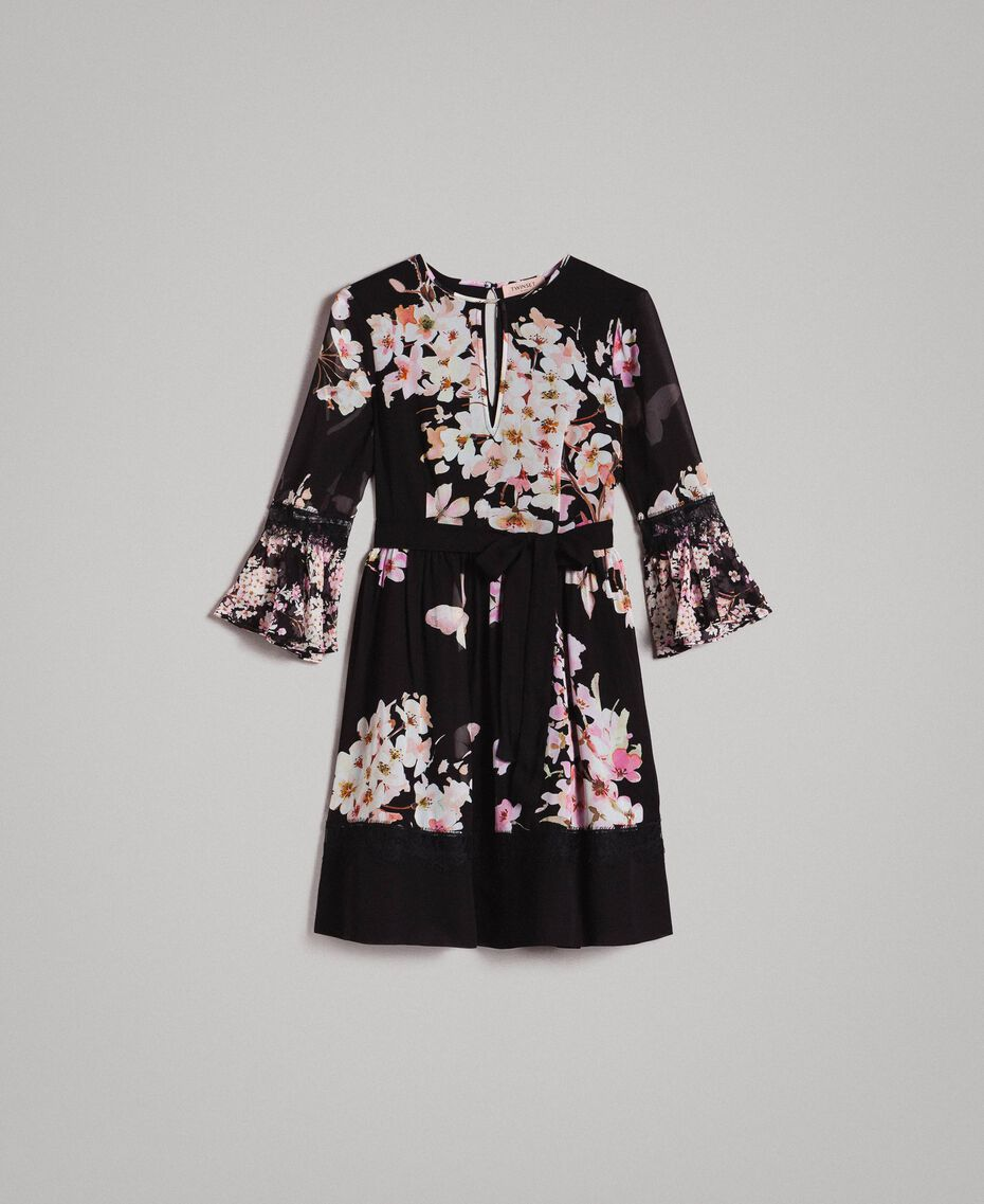 "Floral print georgette dress ""Peach Mix"" Pink Black Print Woman 191TP2716-0S"
