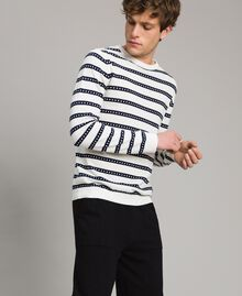 "Crêpe cotton striped jumper Two-tone Opaque White / ""Blackout"" Blue Man 191UT3031-02"