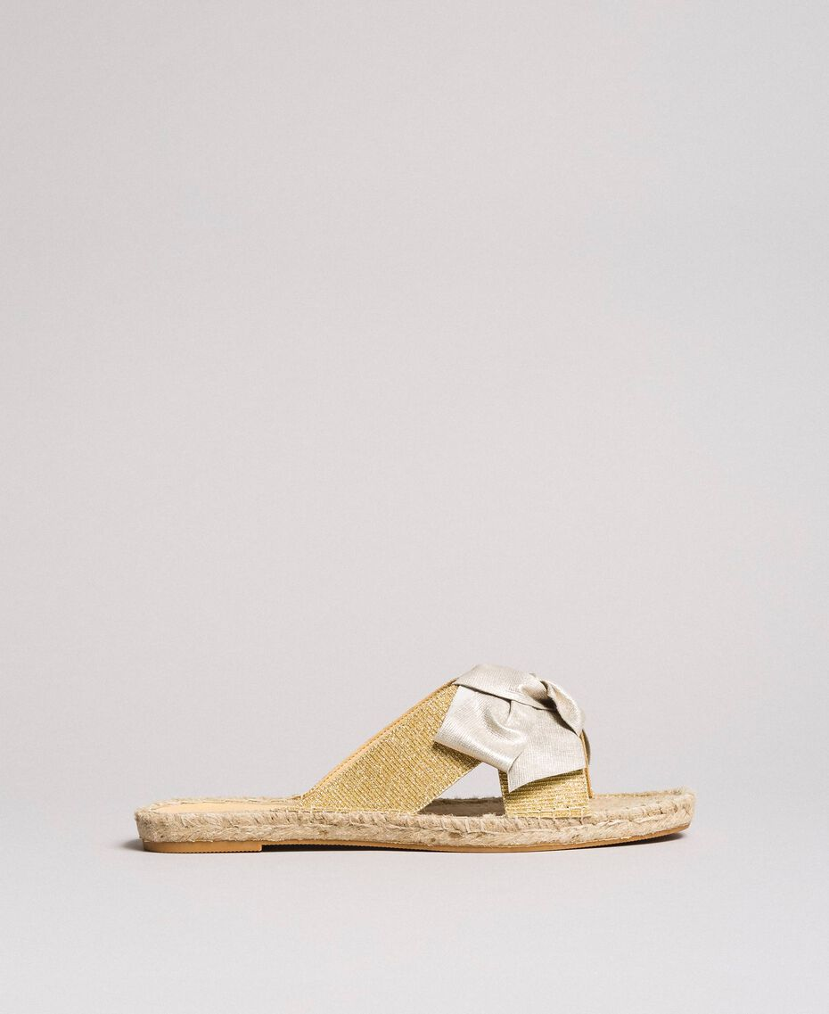 Criss-crossed slippers with bow Gold Yellow Woman 191MCP150-02