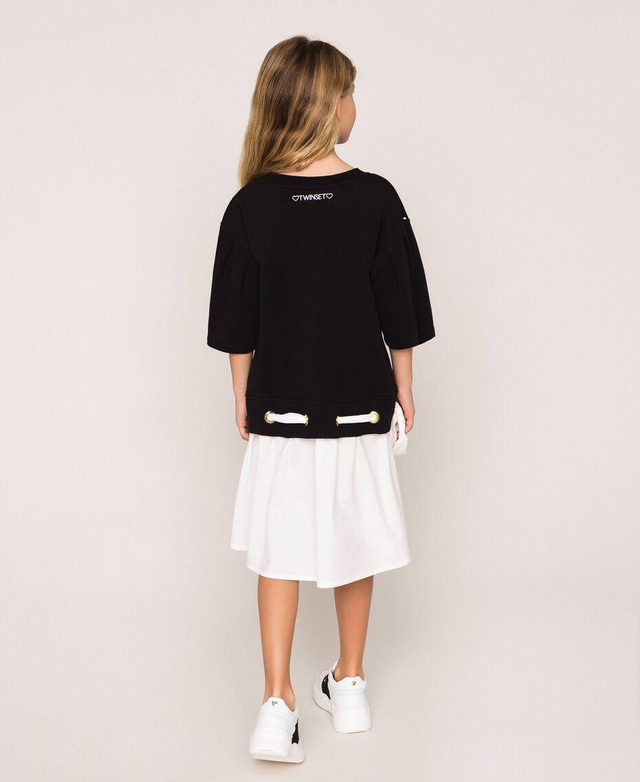 "Plush dress with polka dots and poplin Two-tone Polka Dot Print / ""Papers"" White Child 201GJ2320-03"