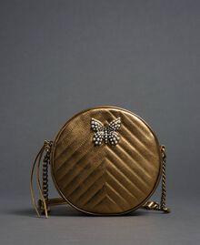 Borsa rotonda a tracolla in pelle Oro Scuro Donna 192TO810F-01