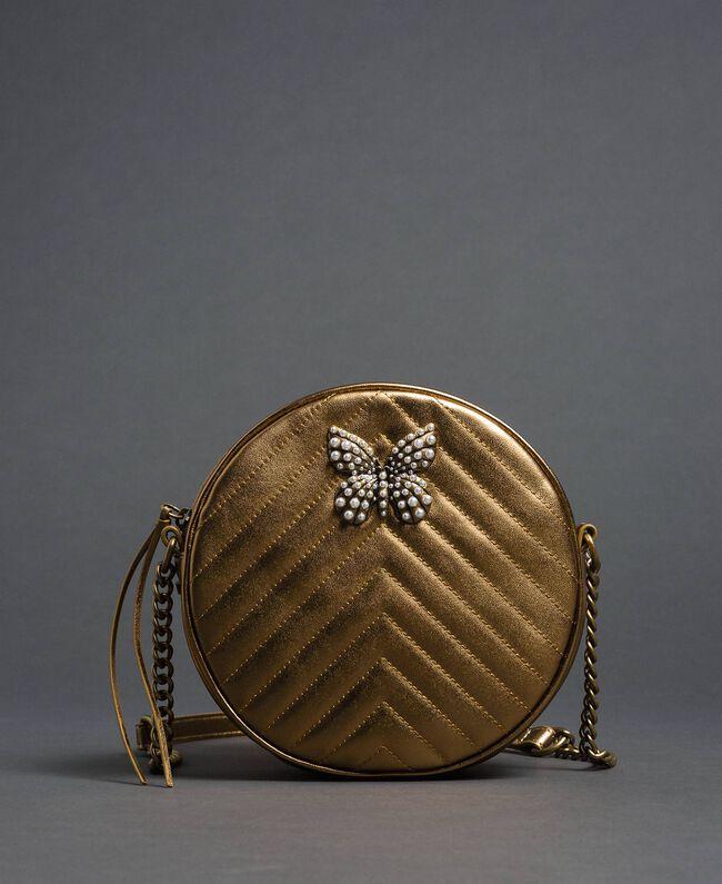 Runde Umhängetasche aus Leder Dunkles Gold Frau 192TO810F-01