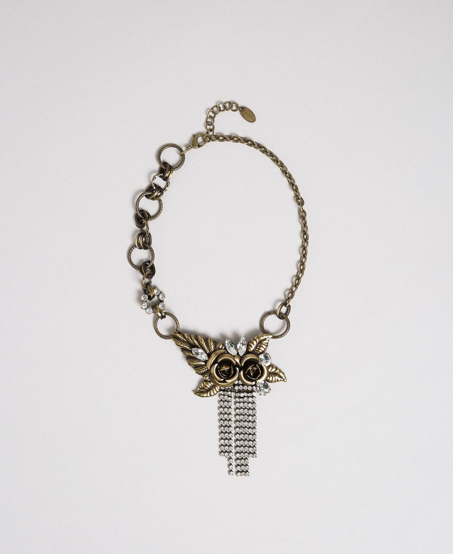 Choker with roses and rhinestone pendants Aged Brass Woman 192TO530J-01