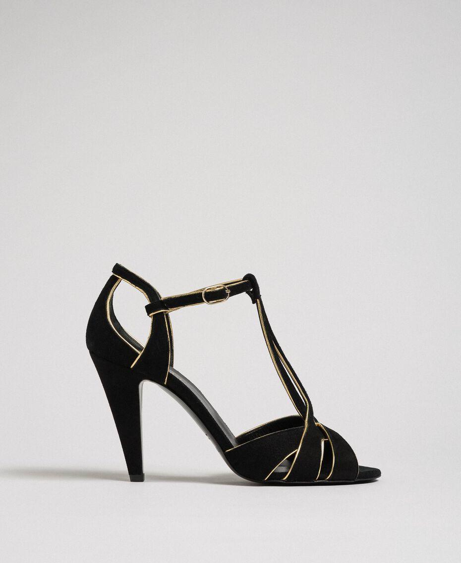 Sandalette aus Rauleder Schwarz Frau 192TCT01G-03