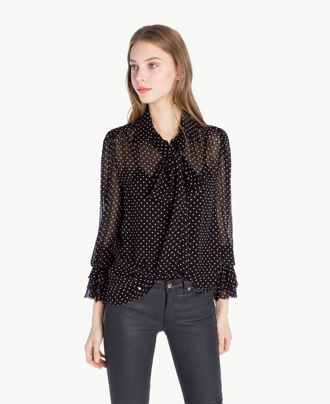 "Polka dot shirt Black Polka Dot Print / ""Doll"" Fuchsia Woman PS82ZP-01"