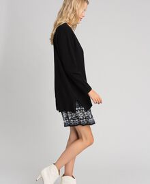 """Maxi cardigan and printed slip with lace Black / """"Vanilla"""" White Woman 192MT3092-02"""