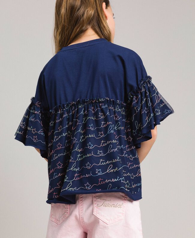 Jersey and tulle embroidered blouse with logo Indigo Child 191GJ2441-03