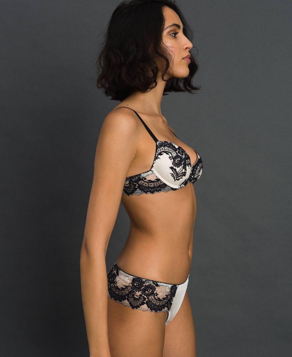 Brazilian-Slip mit Spitze Elfenbein / Schwarz Frau 192LL6DXX-02