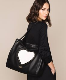 """Hobo bag with studs and heart Black / """"Vanilla"""" White Woman 201MA7093-0S"""