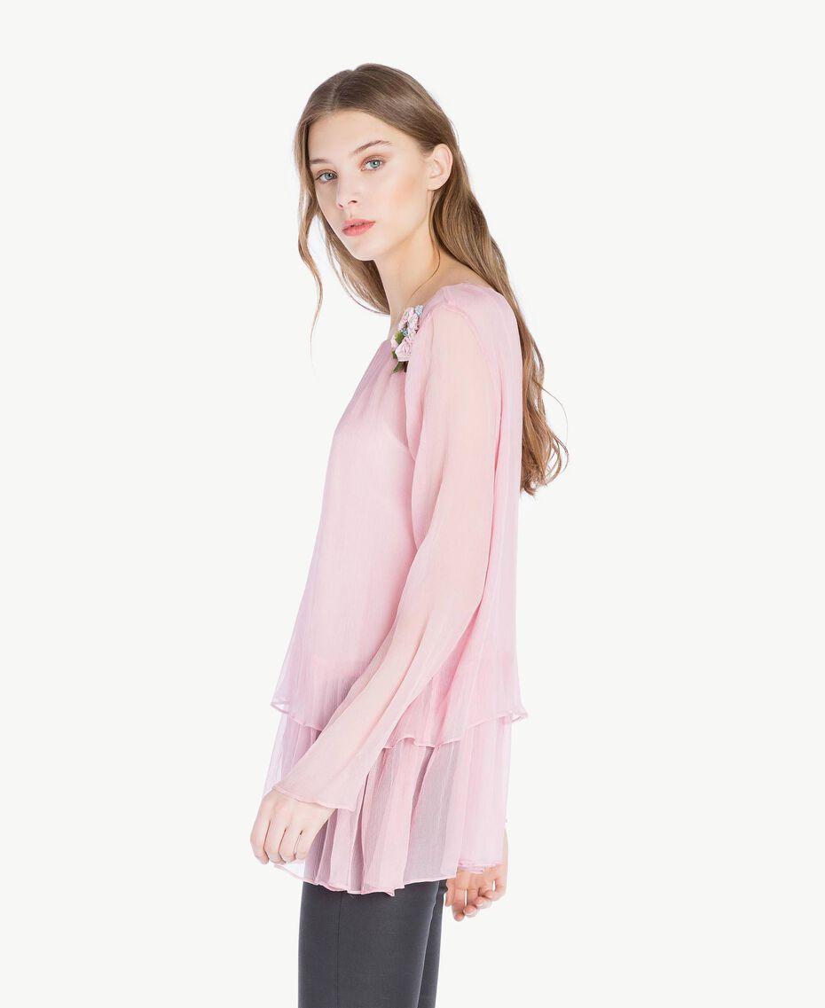 Bluse aus Seide Rosa Hortensie Frau PS8224-02