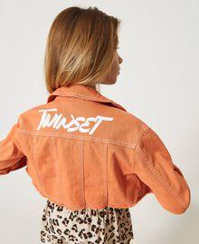 """Cropped bull jacket with logo """"Iceland Poppy"""" Orange Child 211GJ206B-04"""