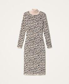 Animal print jacquard sheath dress Animal Jacquard Woman 202TT3160-0S