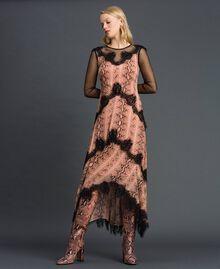 Animal print georgette long dress Canyon Pink Python Print Woman 192TT2271-02