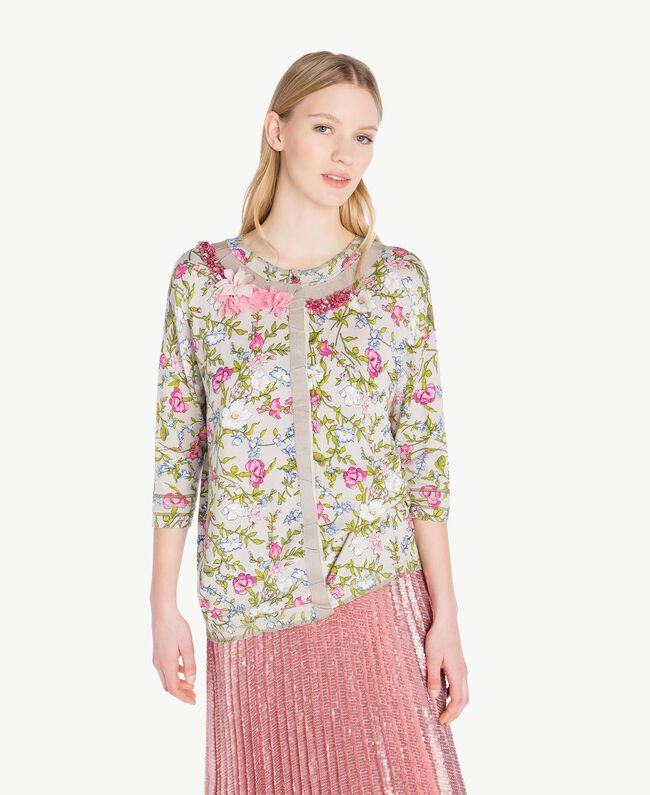 Embroidered mandarin collar top Floral Print Woman PS83LF-01