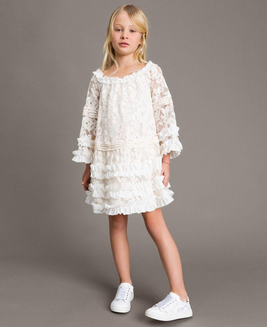 Robe en dentelle avec ruchés Bicolore Chantilly / Blanc Optique Enfant 191GJ2QH0-0S