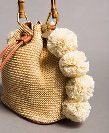 """Straw bucket bag with pompom """"Marzipan"""" Beige Woman 191TO8273-03"""