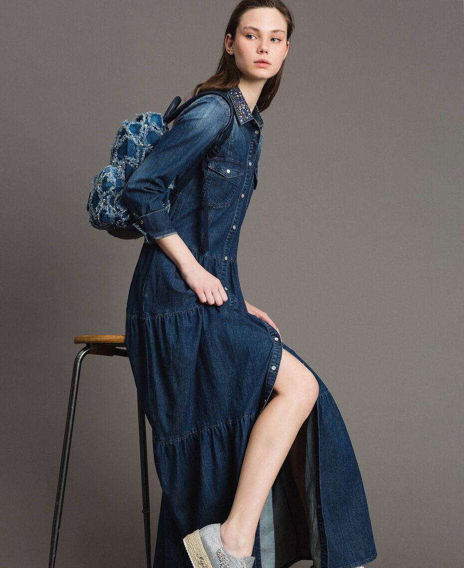 Denim patchwork-effect backpack Arabian Blue Woman 191MA7080-0T