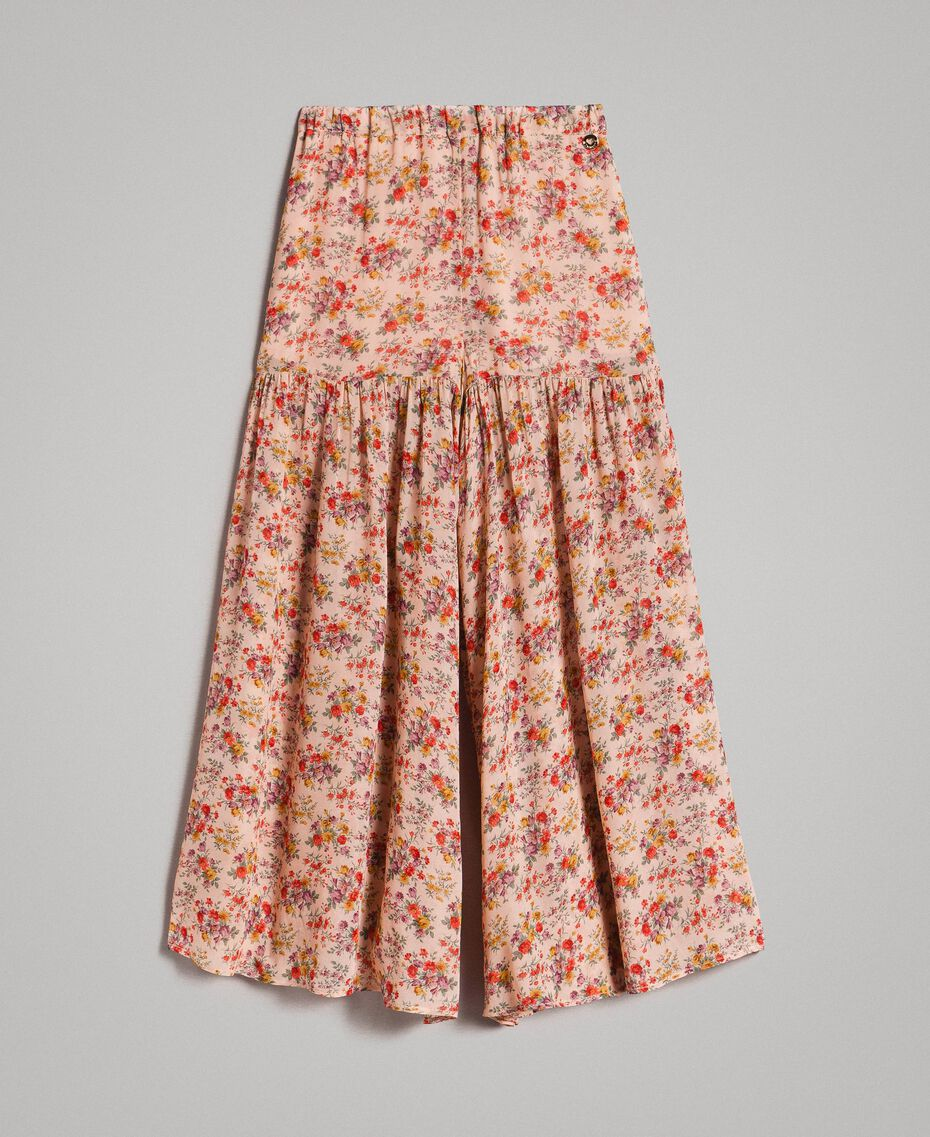 Floral georgette trouser skirt Mini Flowers Print Child 191GJ2801-01