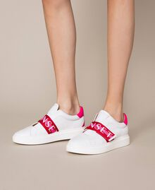 """Leather trainers with logo band Multicolour Optical White / """"Geranium"""" Red /""""Jazz"""" Pink Woman 201TCT064-0S"""