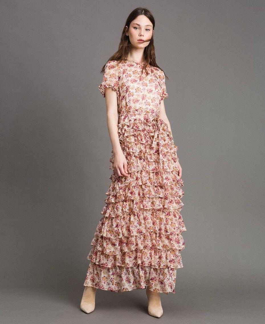 """Maxikleid aus Georgette mit Blumenmuster Motiv """"Blossom"""" Pink Bouquet Frau 191TP2574-02"""