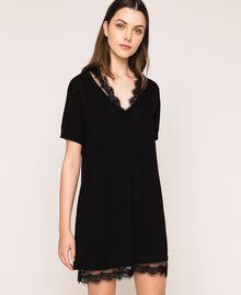 Minivestido de lino mixto con combinación Negro Mujer 201MT3021-01