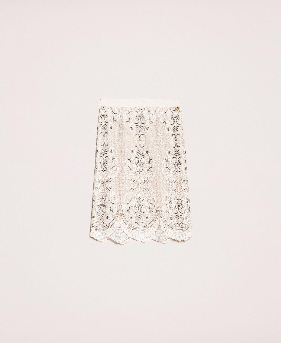 Кружевная юбка с вышивками Слоновая кость женщина 201TP2464-0S
