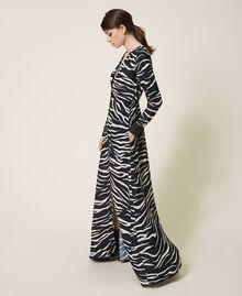 Animal print crêpe de Chine dress Black / Cream White Zebra Print Woman 202MP2430-03