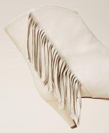 Bottines en cuir avec franges Blanc Neige Femme 212TCP10E-04
