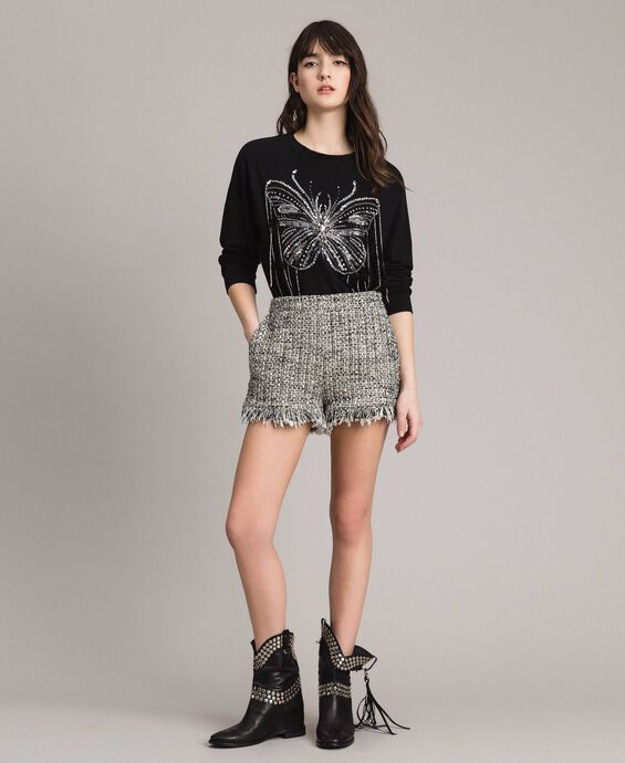 Fringed tweed shorts