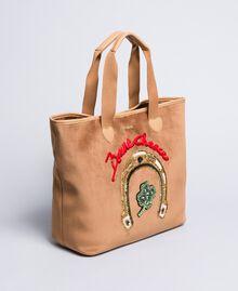 Shopper aus Samt mit Stickerei Camel Frau AA8PLA-01
