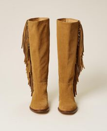 """Leather boots with fringes """"Cigar"""" Beige Woman 212TCP106-06"""