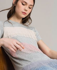 T-shirt with pleated tulle flounces Muticolour Tulle Woman 191MP2230-02