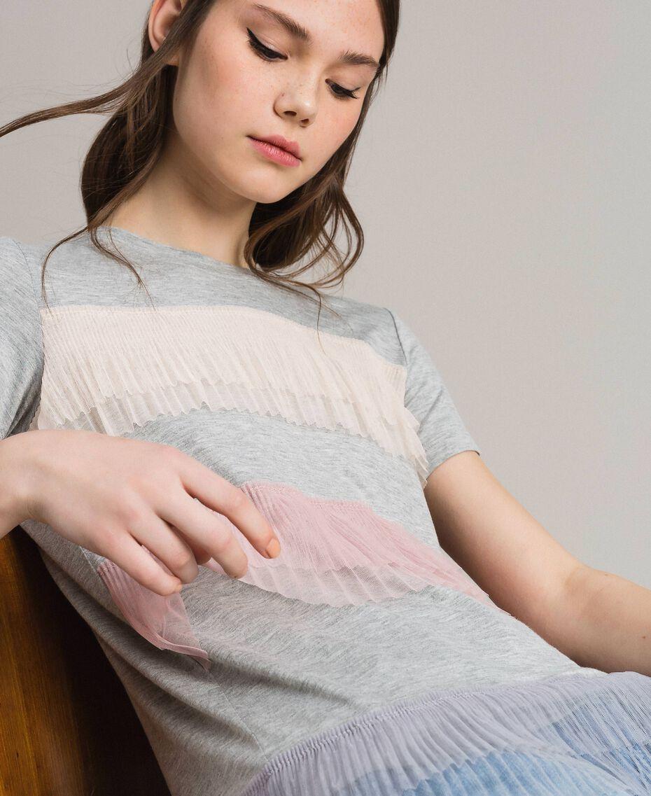 T-shirt avec volants en tulle plissé Multicolore Tulle Femme 191MP2230-02