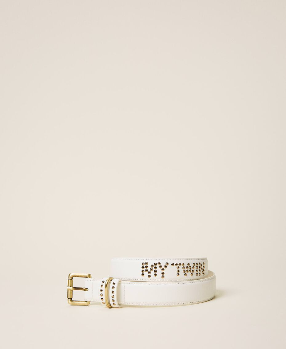 Faux leather belt with logo Creamy White Woman 202MA4354-01