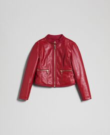 Faux leather biker jacket Ruby Wine Red Child 192GJ2010-0S