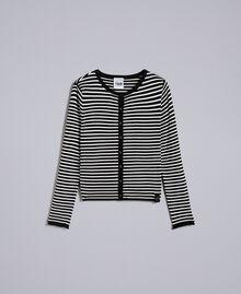 Cardigan à rayures bicolores avec ruches Rayure Noir / Blanc Nacre Femme JA83BR-0S