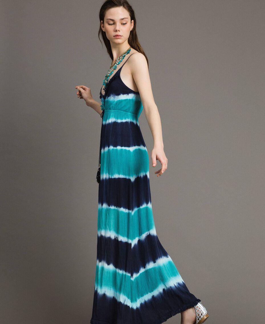 """Vestido largo tie-dye de rayas Multicolor Blunight / Off White / Verde """"Green Bay"""" Mujer 191MT2322-02"""
