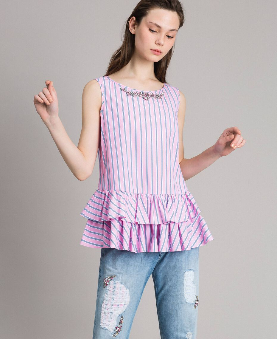 Striped poplin top with flounces Hydrangea Pink Woman 191MP2041-02