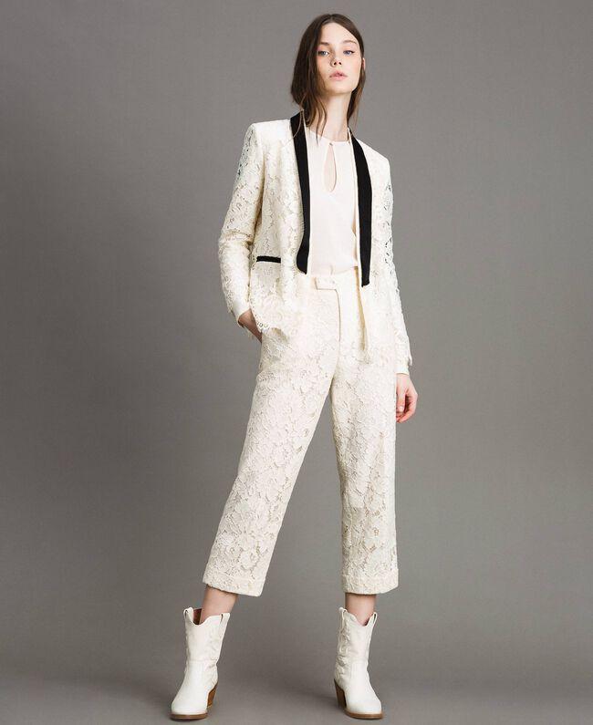 Pantaloni cropped in pizzo macramè Bianco Neve Donna 191TP2255-01