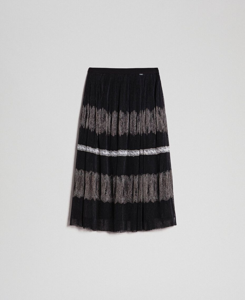Pleated Chantilly lace skirt Black / Creamy White Woman 192ST2113-0S