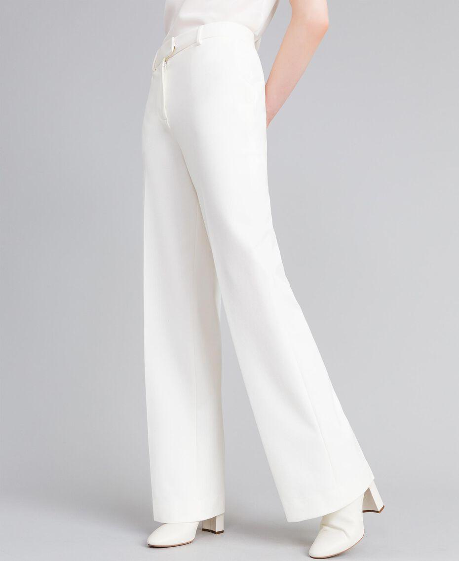 Pantalon en point de Milan Blanc Neige Femme PA8218-02