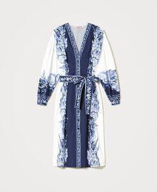 "Poplin shirt dress with print ""Patch Porcelain Blue And White"" Blue Woman 211TT2195-0S"