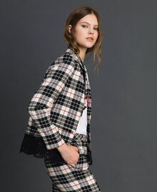 "Chequered blazer with lace ""Snow"" White Tartan Jacquard Woman 192TP2620-02"