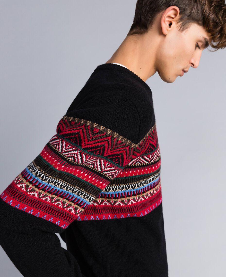 Multi-coloured jacquard wool blend jumper Black Jacquard / Black Man UA83HP-02