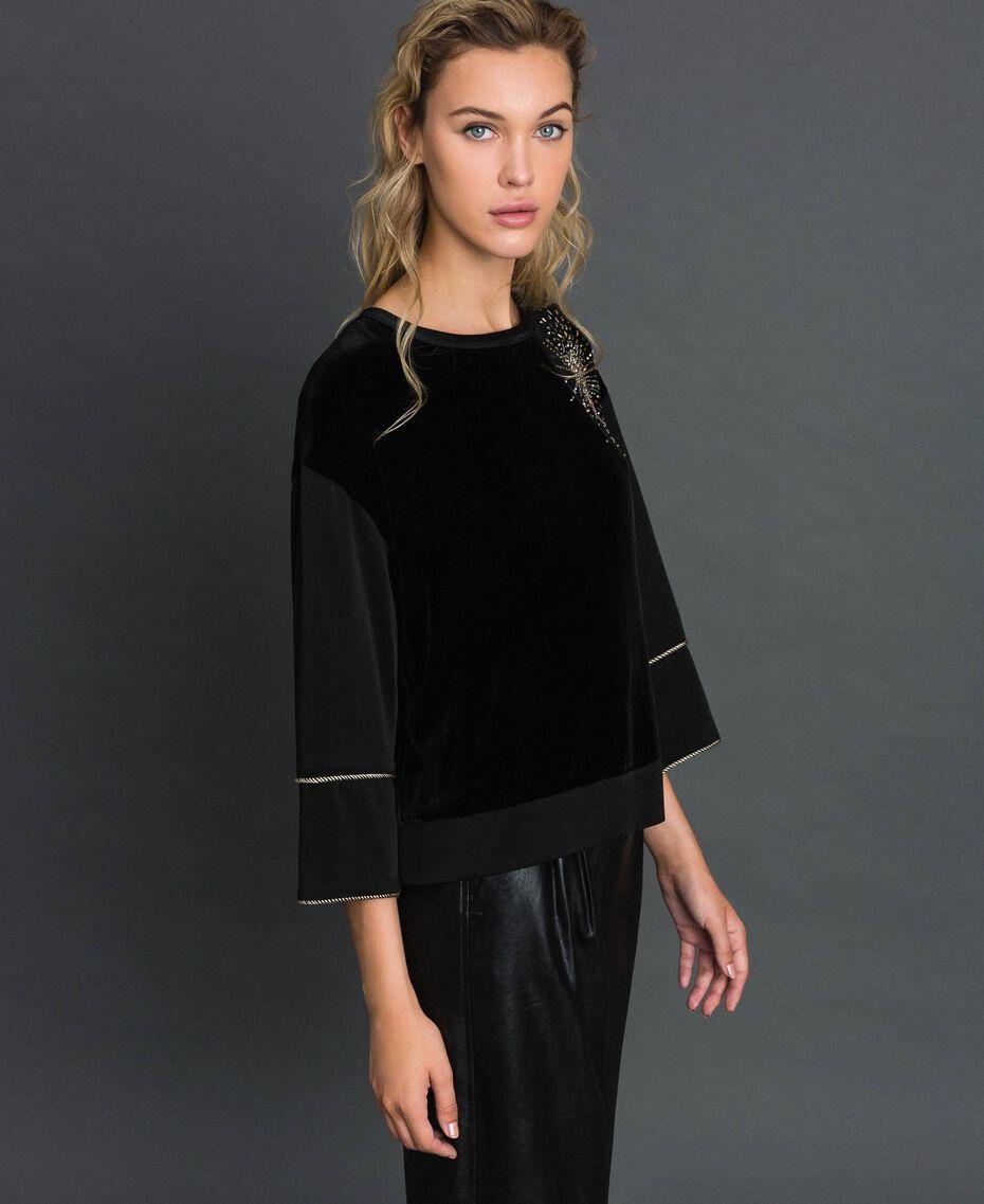 Blusa de terciopelo y cady con bordado Negro Mujer 192TT2422-02