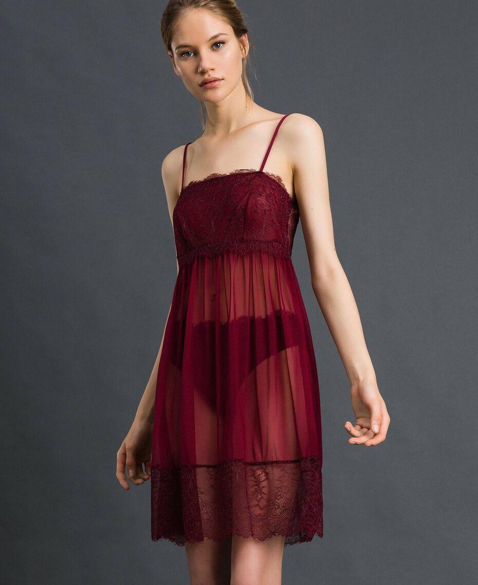 Unterkleid aus Tüll und Spitze Purpurrot / Bleigrau Frau 192LI24YY-01