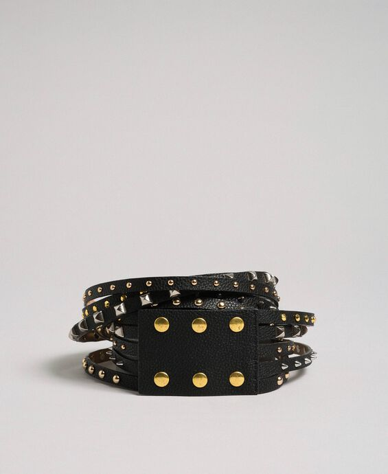 High waist leather belt with mixed studs