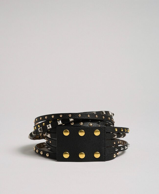 High waist leather belt with mixed studs Black Woman 192TA430E-01