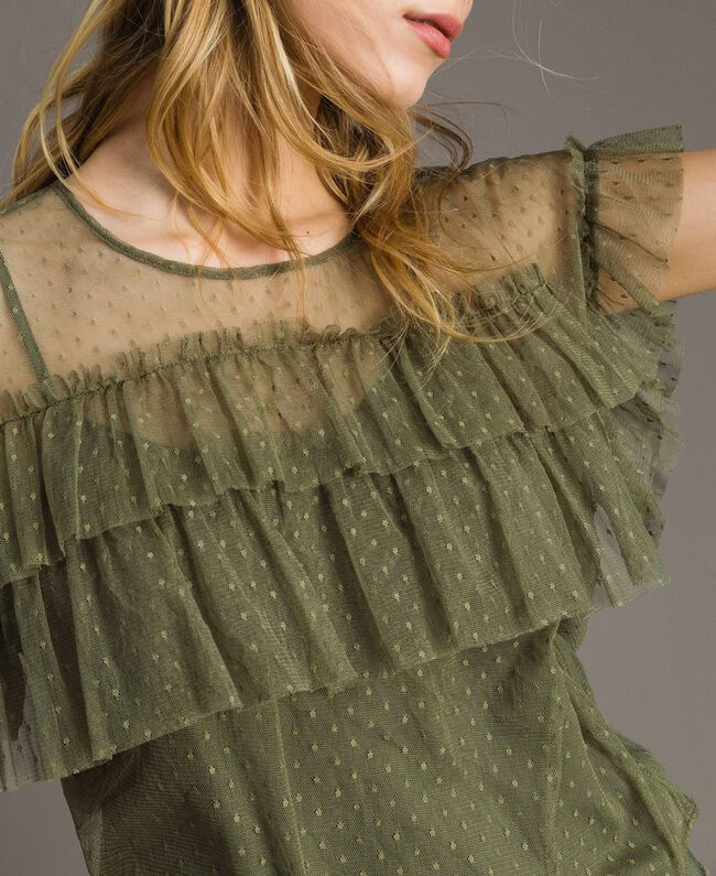 """Tulle blouse with slip top """"Olive Green"""" Woman 191ST2070-01"""