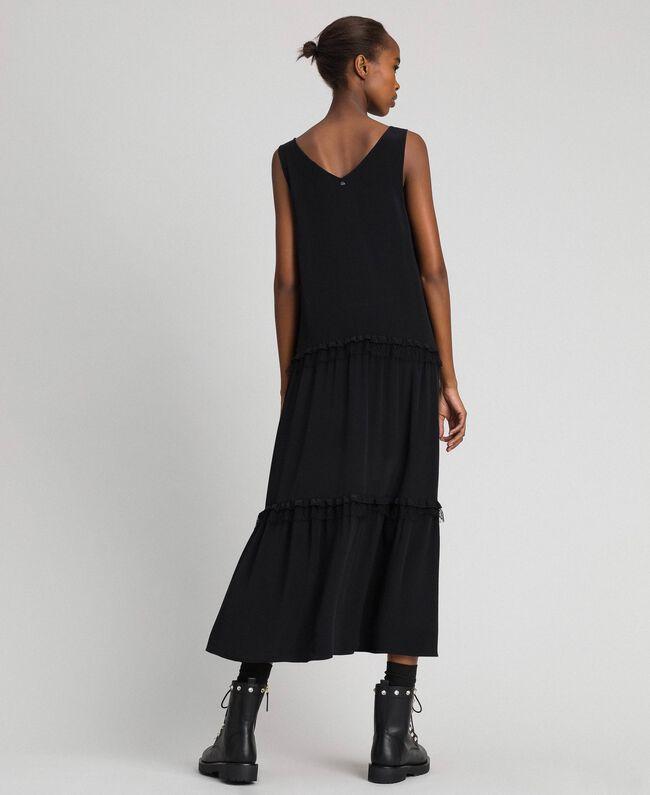 Long dress in silk blend crêpe de Chine Black Woman 192TP2361-03